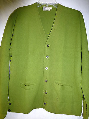"Vintage 50s Chartreuse Green Orlon Cardigan Sweater mens M 42"" chest 2 Pockets"