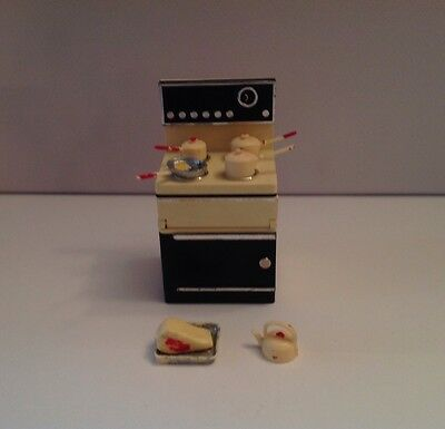 Vintage Lundby Dolls House Cooker and Accessories
