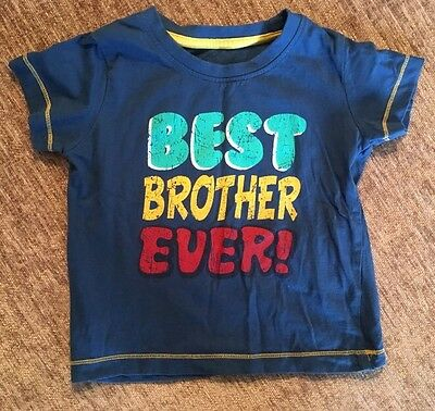 Baby Toddler Boys Blue Short Sleeved Best Brother Ever T Shirt Top 12-18 Months