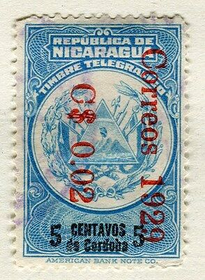 NICARAGUA;  1928-9 early surcharged issue fine used 0.02c. value