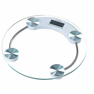 NEW 180KG Glass Digital Bathroom Weighing Body Scales Round Transparent