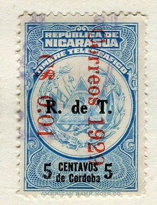 NICARAGUA;  1928-9 early surcharged issue fine used 0.01c. value