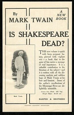1909 Mark Twain photo Is Shakespeare Dead book release vintage print ad