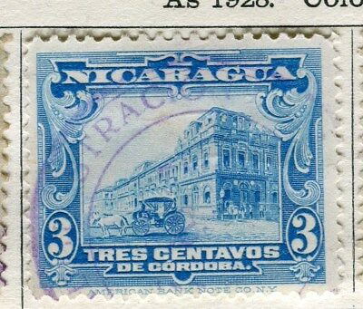 NICARAGUA;  1928 early pictorial issue fine used 3c. value
