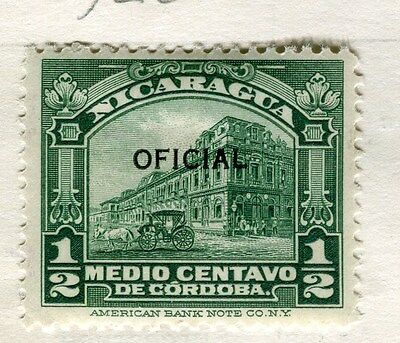 NICARAGUA;  1926 early OFFICIAL Optd. issue fine Mint hinged 1/2c. value