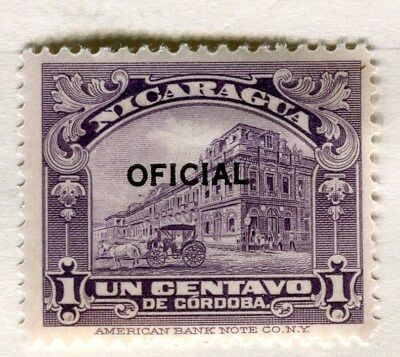 NICARAGUA;  1926 early OFFICIAL Optd. issue fine Mint hinged 1c. value