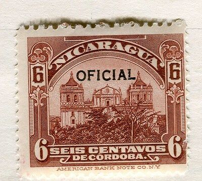 NICARAGUA;  1926 early OFFICIAL Optd. issue fine Mint hinged 6c. value