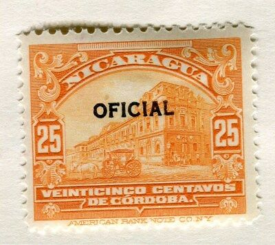 NICARAGUA;  1926 early OFFICIAL Optd. issue fine Mint hinged 25c. value