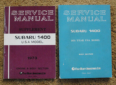 SUBARU 1400 Service Manual 1974 Supplement 1973 USA MODEL