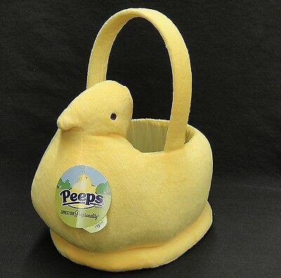 Dandee Plush Peeps Figural Easter Basket Yellow Fuzzy New With Tag