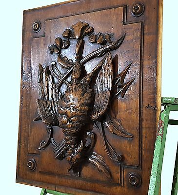 CARVED WOOD PANEL ANTIQUE FRENCH TROPHY HUNTING SCENE CARVING SALVAGED 19th b