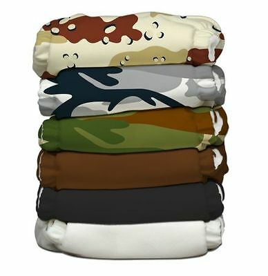 Charlie Banana Lot of 6 Cloth Diapers + 12 Insert Boot Camp Pack One Size NEW