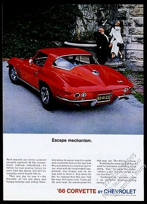 1966 Chevrolet Corvette Sting Ray coupe red car photo vintage print ad