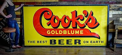 Vintage Large Cooks Beer Tin Sign 8x4 Rare 1950s NOS with wood frame Gas Oil