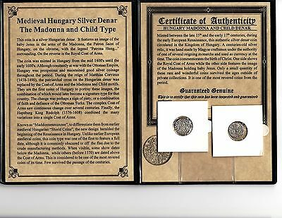 Medieval Hungary Silver Denar 1400AD Madonna & Baby Jesus Coin in a GREAT Grade