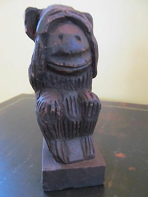 """Wooden See No Evil Monkey Doorstop 5"""" tall"""