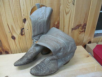 Justin 11.5 D – Western Cowboy Boots Men's gray Leather Ostrich/Snake? USA