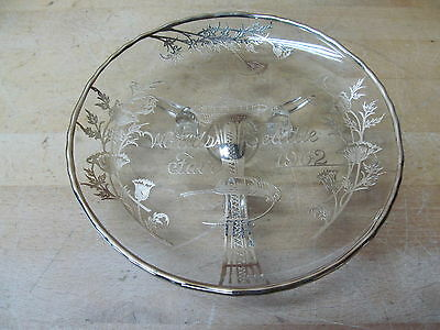 World's Fair Seattle 1962 Space Needle Footed Dish Silver Overlay 7-1/2 diameter