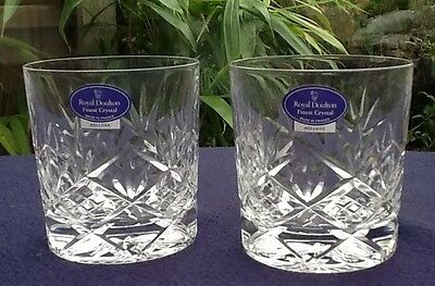 "Royal Doulton Whisky Glasses Hellene Cut Boxed High Quality Luxury 3.5"" Tall"