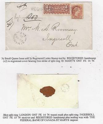 CANADA SUPERB 2cts REGISTERED STAMP + 3cts SMALL QUEEN COVER MUST SEE WRITE UP