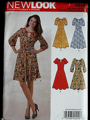 NEW LOOK Misses Flutted Sleeve Flared Dress Pattern 0910 6224 UC 10-22