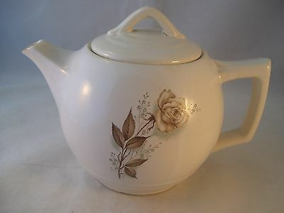 Vintage McCoy Pottery Antique Rose Brown Teapot Tea Pot with Lid