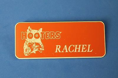 HOOTERS RESTAURANT GIRL RACHEL ORANGE NAME TAG / PIN -  Waitress Pin