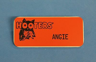 HOOTERS RESTAURANT GIRL ANGIE ORANGE NAME TAG / PIN -  Waitress Pin