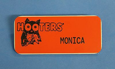 HOOTERS RESTAURANT GIRL MONICA ORANGE NAME TAG / PIN -  Waitress Pin