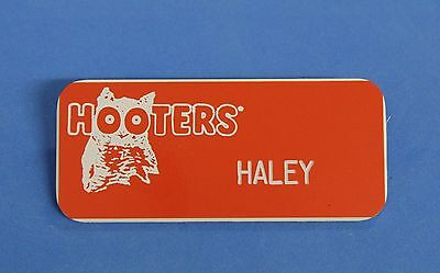 HOOTERS RESTAURANT GIRL HALEY ORANGE NAME TAG / PIN -  Waitress Pin
