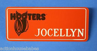 ORANGE HOOTERS GIRL NAME TAG PIN (name in white) JOCELLYN