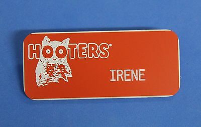 HOOTERS RESTAURANT GIRL IRENE ORANGE NAME TAG / PIN -  Waitress Pin