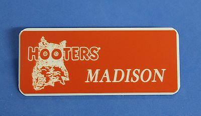 HOOTERS RESTAURANT GIRL MADISON ORANGE NAME TAG / PIN -  Waitress Pin