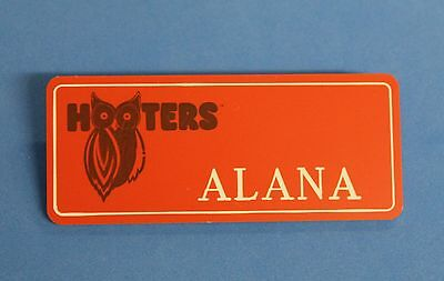 HOOTERS RESTAURANT GIRL ALANA ORANGE NAME TAG / PIN -  Waitress Pin
