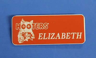 HOOTERS RESTAURANT GIRL ELIZABETH ORANGE NAME TAG / PIN -  Waitress Pin