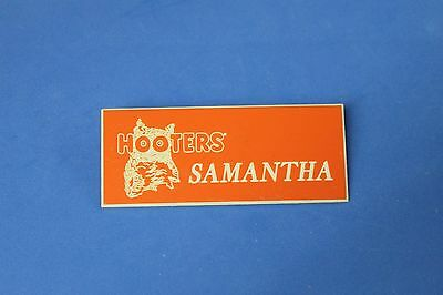HOOTERS RESTAURANT GIRL SAMANTHA ORANGE NAME TAG / PIN -  Waitress Pin