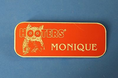 HOOTERS RESTAURANT GIRL MONIQUE ORANGE NAME TAG / PIN -  Waitress Pin