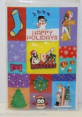 Hooters Restaurant Happy Holidays Christmas Girl Santa Hat Lapel Pin On Card