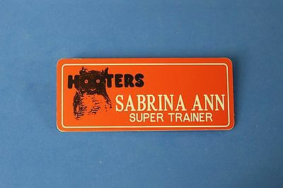 HOOTERS RESTAURANT GIRL SABRINA ANN ORANGE NAME TAG / PIN -  Waitress Pin