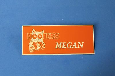 HOOTERS RESTAURANT GIRL MEGAN ORANGE NAME TAG / PIN -  Waitress Pin