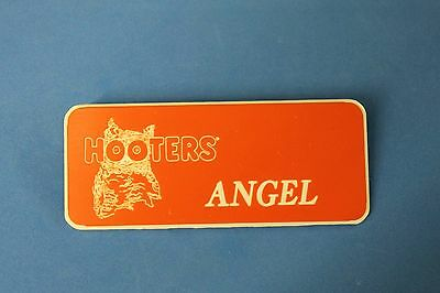 HOOTERS RESTAURANT GIRL ANGEL ORANGE NAME TAG / PIN -  Waitress Pin