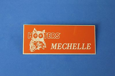 HOOTERS RESTAURANT GIRL MECHELLE ORANGE NAME TAG / PIN -  Waitress Pin