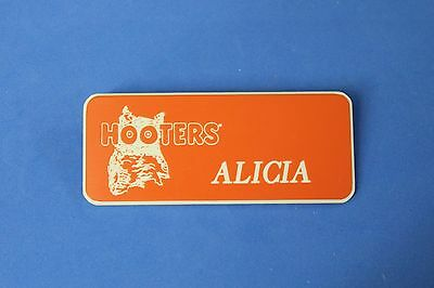 HOOTERS RESTAURANT GIRL ALICIA ORANGE NAME TAG / PIN -  Waitress Pin
