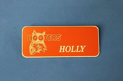 HOOTERS RESTAURANT GIRL HOLLY ORANGE NAME TAG / PIN -  Waitress Pin