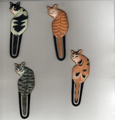"""New Set of 4 Painted 3"""" Cat Bookmark, bookmarks, book mark collectable"""