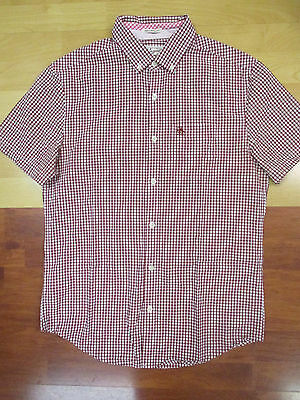 Original Penguin Red Plaid Slim Fit Button Front Short Sleeve Shirt - Small