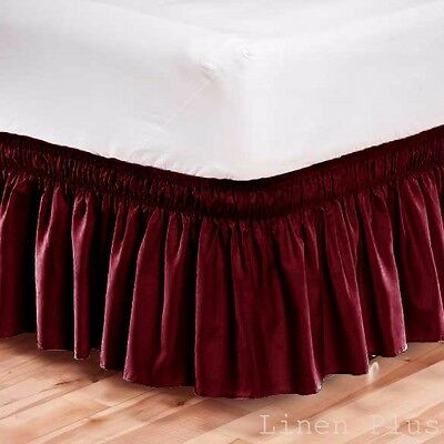 Elastic Bed Skirt Dust Ruffle Easy Fit Wrap Around Burgundy Color Queen  Size