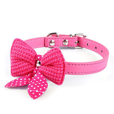 Knit Bowknot Adjustable PU Leather Dog Puppy Pet Collars Necklace Hot Pink M2