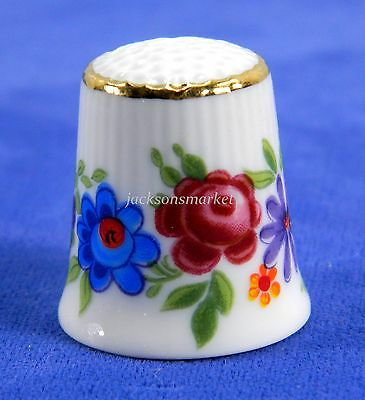 Porcelain Thimble Bright Flowers by K & A Krautheim Selb Bavaria Germany