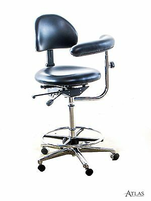 Productive Practices Dental Assistant Stool w/ Black Ultraleather Upholstery